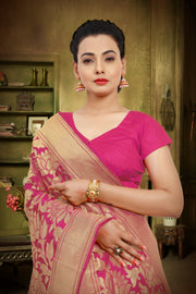 SIGNORAA RANI PINK KANCHIPURAM SOFT SILK SAREE-KSL02491A - View 2