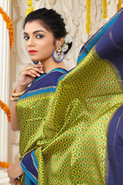 SIGNORAA GREEN PRINTED SILK SAREE-PTS04219A - VIEW 2