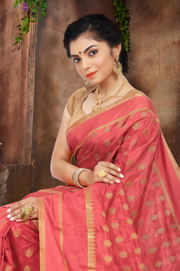 SIGNORAA PEACH DAILY WEAR SEMI TUSSAR SAREE-SASYN05871C - View 2