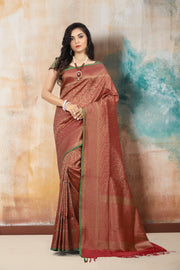SIGNORAA RED BANARASI SILK SAREE-BSK06708 - View 1