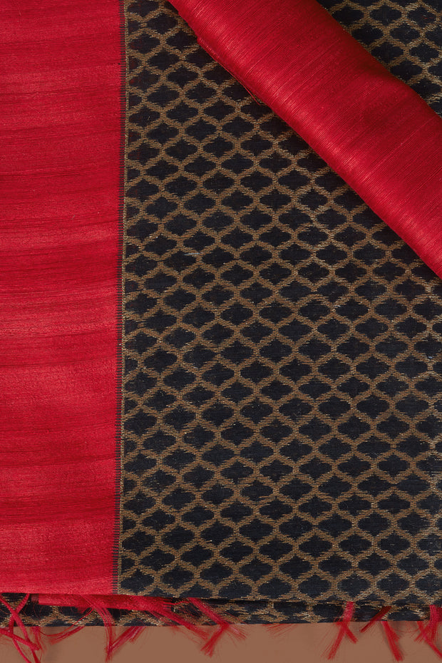 SIGNORAA BLACK BANARASI TUSSAR SILK SAREE-BSK07787 - Product View