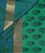 SIGNORAA PEACOCK GREEN PRINTED SILK SAREE-PTS04162 - PRODUCT VIEW