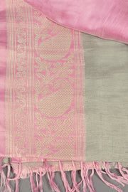 SIGNORAA LIGHT GREY BANARASI TUSSAR SILK SAREE-BSK07580 - Product View