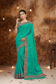 SIGNORAA TURQUOISE BLUE KANCHIPURAM SOFT SILK SAREE-EMB02966 - VIEW 1