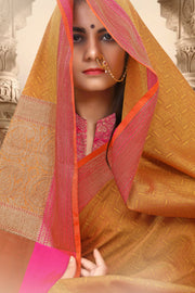 SIGNORAA RUST FANCY MERCERISED COTTON SAREE-FCT08834-VIEW 2