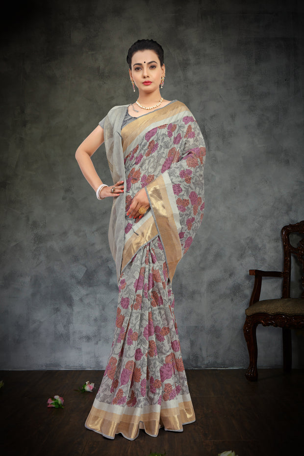 SIGNORAA GREY FANCY COTTON SAREE-FCT08798-VIEW1