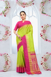 SIGNORAA PARROT GREEN KANCHIPURAM SOFT SILK SAREE-KSL02442-View1