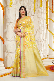 SIGNORAA LEMON YELLOW KOTA SAREE-KTJ03377 - VIEW 1