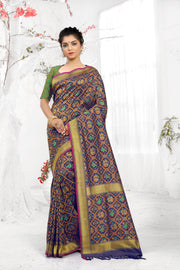SIGNORAA NAVY BLUE BANARASI SILK SAREE-BSK06913 - View 1