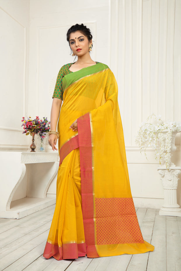 SIGNORAA YELLOW SILK COTTON SAREE-CCC01452 - VIEW 1