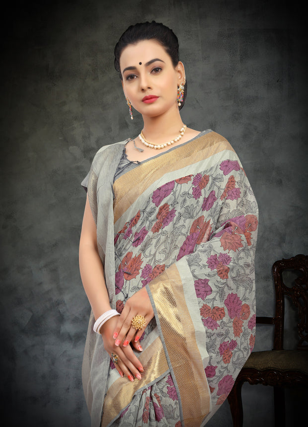 SIGNORAA GREY FANCY COTTON SAREE-FCT08798-VIEW 2