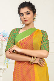 SIGNORAA YELLOW SILK COTTON SAREE-CCC01452 - VIEW 2