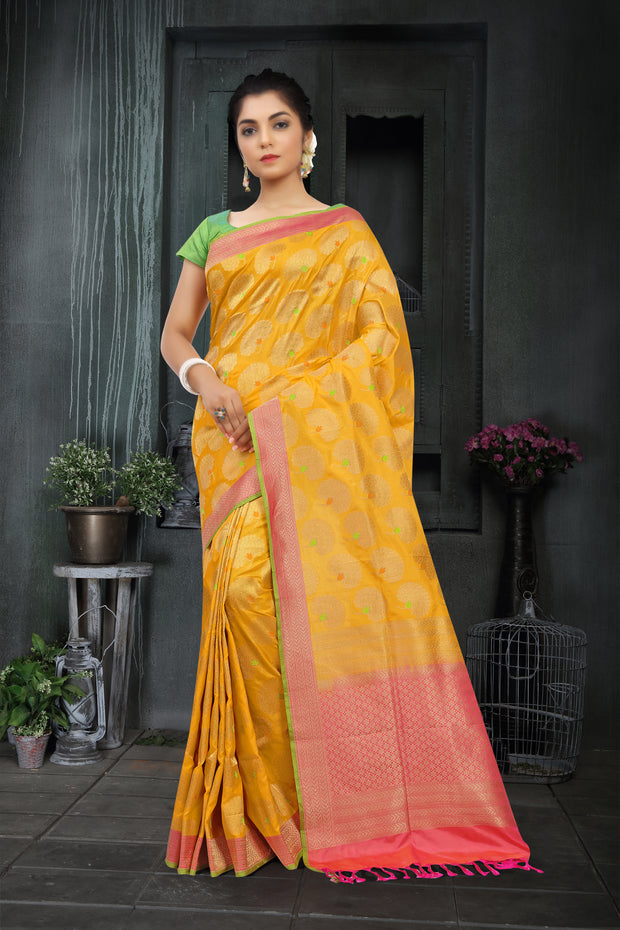 Signoraa Yellow Banarasi Silk Saree-BSK06681