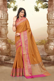 SIGNORAA RUST FANCY MERCERISED COTTON SAREE-FCT08834 -VIEW 1