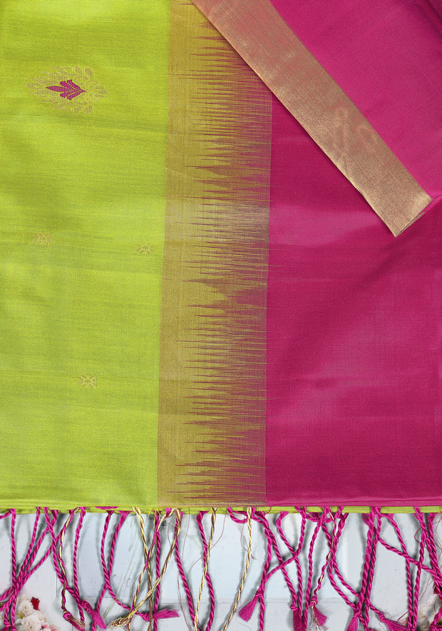 SIGNORAA PARROT GREEN KANCHIPURAM SOFT SILK SAREE-KSL02442- Product View