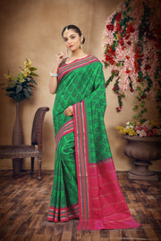 SIGNORAA BOTTLE GREEN PRINTED SILK SAREE-PTS04164 - VIEW 1