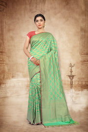 SIGNORAA SEA GREEN BANARASI SILK SAREE-BSK07878 - View 1
