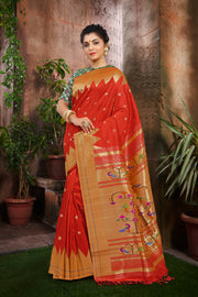 SIGNORAA ORANGE PAITHANI SILK SAREE-PTN00053 - VIEW 1