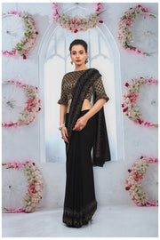 SIGNORAA BLACK CHIFFON SAREE-CHG03466 - VIEW 1