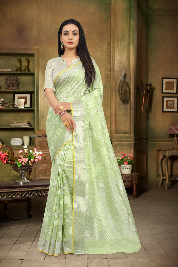 SIGNORAA LIGHT GREEN KOTA SAREE-KTJ03222 - VIEW 1