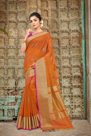 SIGNORAA RUST BANARASI SILK COTTON SAREE-BSK07748 - View 1