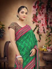 SIGNORAA BOTTLE GREEN PRINTED SILK SAREE-PTS04164 - VIEW 2