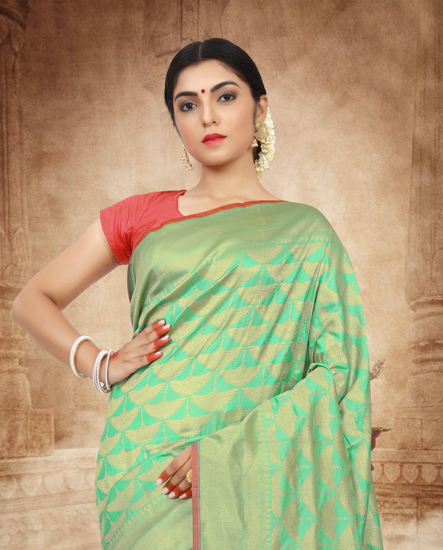 SIGNORAA SEA GREEN BANARASI SILK SAREE-BSK07878 - View 2