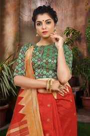 SIGNORAA ORANGE PAITHANI SILK SAREE-PTN00053 - VIEW 2