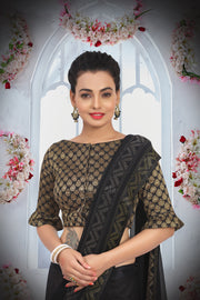 SIGNORAA BLACK CHIFFON SAREE-CHG03466-VIEW 2