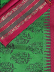 SIGNORAA BOTTLE GREEN PRINTED SILK SAREE-PTS04164 - PRODUCT VIEW
