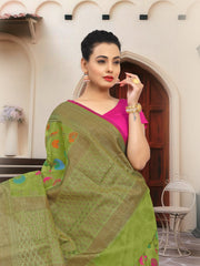 SIGNORAA GREEN SILK COTTON SAREE-CCC01459 - VIEW 2