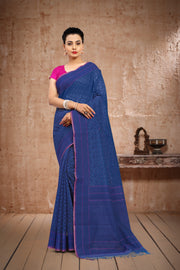 SIGNORAA ROYAL BLUE BANARASI JUTE NET SAREE-BSK07379 - View 1