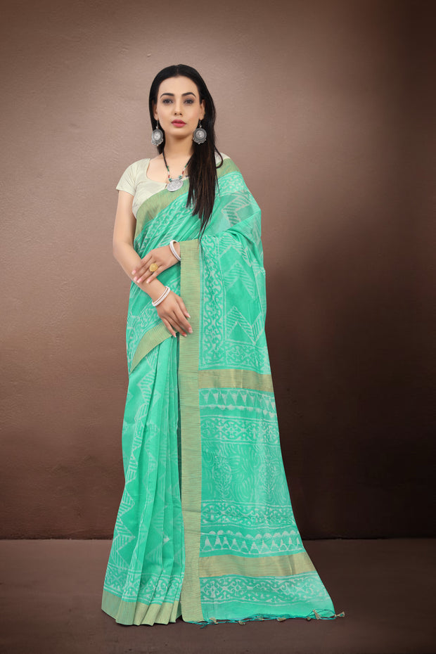 SIGNORAA SEA GREEN FANCY CHANDERI COTTON SAREE-FCT08644 - VIEW 1