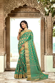 SIGNORAA GREEN DAILY WEAR SEMI TUSSAR SAREE-SASYN05920- View 1