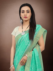 SIGNORAA SEA GREEN FANCY CHANDERI COTTON SAREE-FCT08644 - VIEW 2