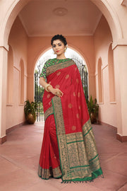 SIGNORAA RED BANARASI TUSSAR SILK SAREE-BSK06408 - View 1