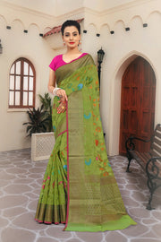 SIGNORAA GREEN SILK COTTON SAREE-CCC01459 - VIEW 1