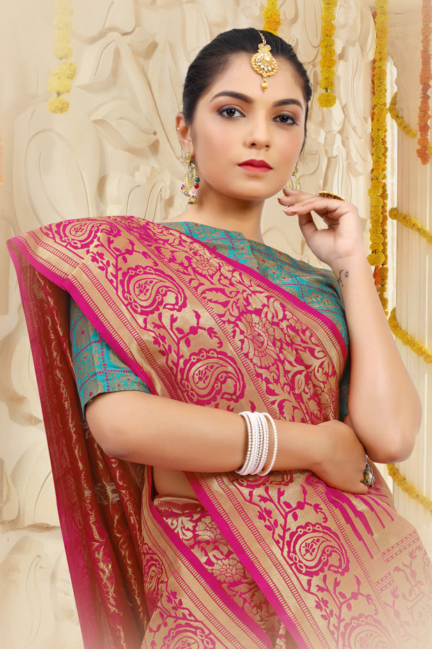 SIGNORAA RANI PINK KANCHIPURAM SOFT SILK SAREE-KSL02492 B - View 2