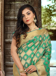 SIGNORAA GREEN DAILY WEAR SEMI TUSSAR SAREE-SASYN05920SIGNORAA GREEN SYNTHETIC SEMI TUSSAR SAREE-SASYN05920- View 2