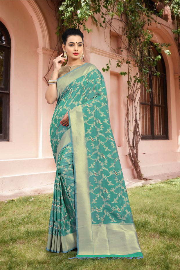 SIGNORAA SKY BLUE BANARASI GEORGETTE SILK SAREE-BSK07799 - View 1