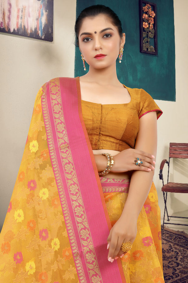 SIGNORAA YELLOW FANCY KOTA COTTON SAREE-FCT08696 - View 2