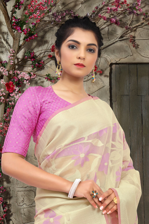 SIGNORAA OFF-WHITE FANCY KOTA COTTON SAREE-FCT08774 - View 2
