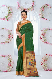 SIGNORAA BOTTLE GREEN PAITHANI SILK SAREE-PTN00097 - VIEW 1