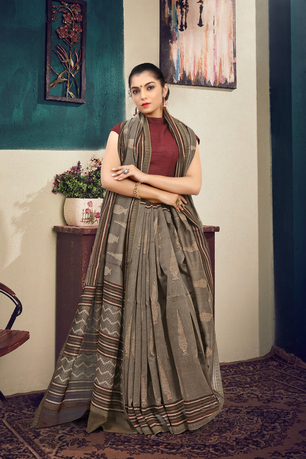 SIGNORAA GREY FANCY CHANDERI COTTON SAREE-FCT08826B - VIEW 1