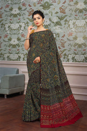 SIGNORAA BLACK GEORGETTE SILK SAREE-EMB02704 - VIEW 1