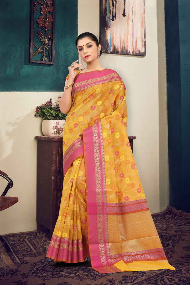 SIGNORAA YELLOW FANCY KOTA COTTON SAREE-FCT08696 - View 1