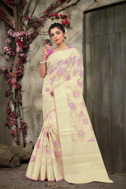 SIGNORAA OFF-WHITE FANCY KOTA COTTON SAREE-FCT08774 - View 1