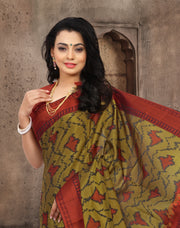 SIGNORAA MILITARY GREEN KANCHIPURAM SOFT SILK SAREE-KSL02403- View 2