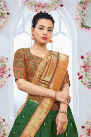 SIGNORAA BOTTLE GREEN PAITHANI SILK SAREE-PTN00097 - VIEW 2