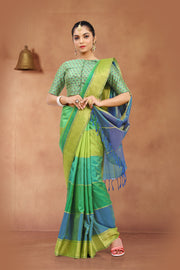 SIGNORAA SHOT GREEN KANCHIPURAM SOFT SILK SAREE-KSL02506-View 1